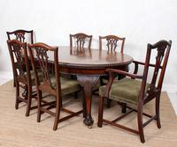 Oak Dining Table & 6 Chairs Telescopic 19th Century (10 of 19)