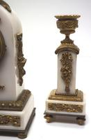 Incredible French White Marble Mantel Clock French 8-day Timepiece Garniture Clock Set (5 of 13)