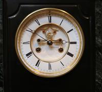 Mid 19th Century Polished Slate Visible Escapement Mantel Clock (12 of 16)