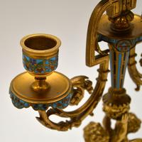 Pair of Antique French Victorian Gilt Bronze Champlevé Candelabra (9 of 12)
