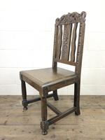 19th Century Antique Gothic Carved Oak Chair (6 of 8)