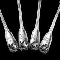 """Antique Victorian Set of 4 Solid Silver Sauce Ladles / Spoons """"Fiddle Thread & Shell"""" Pattern - Chawner & Co 1845 (15 of 15)"""