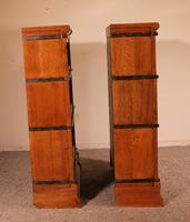 Pair Of Low Stacking Bookcases In Light Oak Globe Werknicke Late 19th Century (5 of 10)