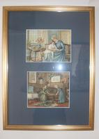 Antique Original Watercolour - Twin Interior Scenes - Mary Sophia Godlee 1860-1932 (4 of 5)