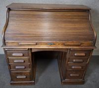 Antique Edwardian Oak Roll Top Pedestal Desk (10 of 10)