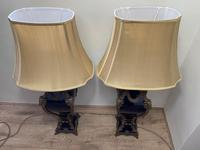 Pair of French Large Rams Heavy Bronze Blue Ceramic Table Lamps (27 of 46)