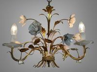 Pair of Vintage French 3 Arm Gilt Toleware Ceiling Light Chandeliers (5 of 10)