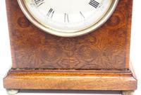 Fantastic Burr Walnut Mantle Clock Rare Snake Hands 8 Day Mantle Clock (7 of 11)
