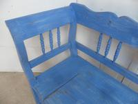 Lovely Chelsea Blue 3 Seater Antique Pine Kitchen / Hall Box Settle / Bench (6 of 10)