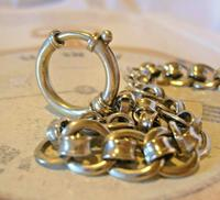 Antique Pocket Watch Chain 1920s Large Chrome Fancy Link Albert with Big Bolt Ring (8 of 12)