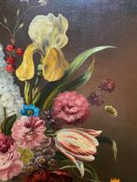 Striking Early 1900s Antique Large Floral Display Oil on Canvas Painting (10 of 12)