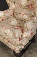 Chippendale Style Floral Upholstered Wing Chair (8 of 16)