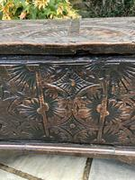 Small Antique Oak Coffer Carved 1660 (3 of 12)