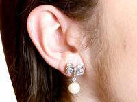 0.36ct Diamond & Pearl, 18ct White Gold Drop Earrings - Vintage c.1940 (9 of 9)