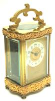 Fine Antique French 8-day Serpentine Fleur De Lis Decorated Panel 8-day Carriage Clock Timepiece c.1890 (3 of 10)