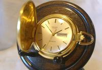 Vintage Swiss Oriosa Pocket Watch 1970s 12ct Gold Plated Full Hunter Quartz Fwo (3 of 11)
