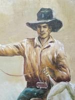 Fine Art American 20th Century Oil Canvas Painting Rodeo Cowboy Riding Horseback (8 of 14)