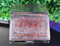 Rare French F Morel Solid Silver Last Supper Scense Lud Snuff Box (14 of 18)