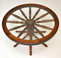 Vintage Glass Top Wagon Wheel Coffee Table (3 of 6)