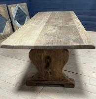 Larger French Bleached Oak Trestle Farmhouse Dining Table (11 of 21)