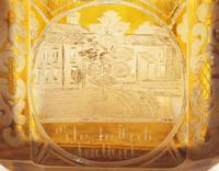 Bohemian Antique Engraved Metal Mounted Overlay Yellow Glass Sugar Casket 19th Century (18 of 19)