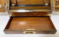 Victorian Burr Walnut Brass Bound Desktop Stationery Cabinet (10 of 15)