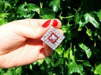 3.48ct Diamond & 0.53ct Ruby, Platinum Pendant / Brooch - Antique c.1900 (2 of 15)