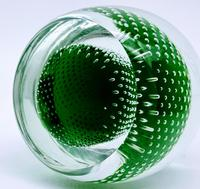 Jaffe Rose Glass Magnum Controlled Bubble Green Paperweight Czech Bohemia (5 of 6)