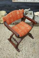 Quality Near Pair of Mahogany Antique x frame Chairs (2 of 5)