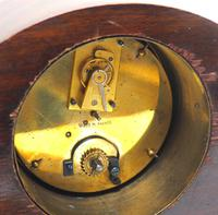 Impressive Solid Mahogany Edwardian Timepiece Clock Hat Shaped With Satinwood Inlaid Decoration (7 of 8)