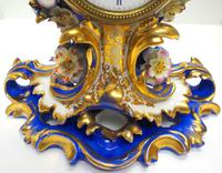 Antique 8 Day Porcelain Mantel Clock Sevres Blue Floral French Mantle Clock (5 of 6)