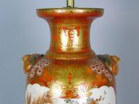 Antique Japanese Kutani Vase Meiji Lamp (7 of 10)