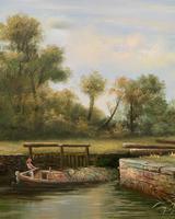 Superb Large Vintage Gilt-Framed Landscape Oil Painting of Barge on the Canal (8 of 13)
