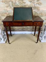 Victorian Mahogany Writing Desk with Green Leather (6 of 9)