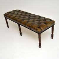 Antique Deep Buttoned  Leather & Mahogany Stool (3 of 8)