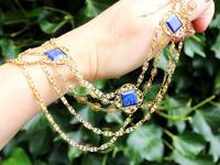 5.55ct Lapis Lazuli & 18ct Yellow Gold Necklace - Antique Victorian c.1870 (2 of 12)