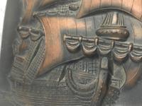 Antique Art Nouveau Marine Bronze Relief Wall Plaque Spanish Galleon Ship 1668 (9 of 21)