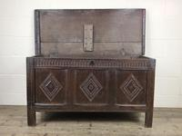 Antique 18th Century Oak Coffer With Carved Front (14 of 16)