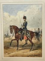 Military Watercolour Prince of Wales Own 10th Royal Hussars Guard on Horseback by Henry Martens c.1850 (4 of 53)
