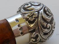 Victorian Gadget Walking Stick 1896 Silver Pommel Bamboo Shaft Hidden Bottle (7 of 12)