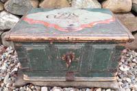 Scandinavian / Swedish 'Folk Art' Baroque Style Blue-Green Original Painted Table Box Late 18th Century (12 of 35)