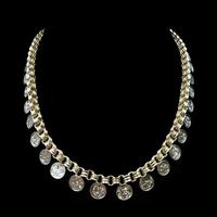 Antique Victorian Aesthetic Coin 18ct Yellow Gold on Sterling Silver Chain Collar Necklace (4 of 12)