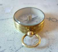 Vintage French Pocket Watch Chain Compass Fob 1940s Chunky Brass Drum Case Fwo (8 of 10)