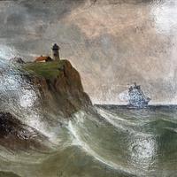 Antique Marine Coastal Seascape Oil Painting Entitled On the Yorkshire Coast by Tom Owen (4 of 10)