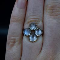 Antique Moonstone Sterling Silver Cluster Conversion Ring (6 of 9)