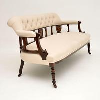 Antique Victorian Inlaid Rosewood Settee (9 of 11)