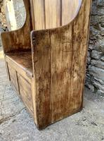 Antique Pine Panelled Box Settle (7 of 16)