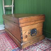 Antique Victorian Pine Chest Rustic Industrial Wooden Trunk + Key + Original Interior (11 of 12)