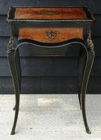 Fine Quality 19th Century French Ebonised & Amboyna Serpentine Sewing Table (2 of 22)
