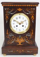 Incredible Rosewood Cased Mantel Clock with Multi Wood & Mother of Pearl Inlay 8–day Striking Clock (7 of 12)